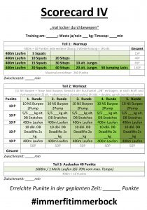Scorecard IV - Outdoortraining